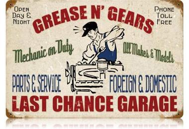Vintage-Retro Grease Gears Garage Metal-Tin Sign