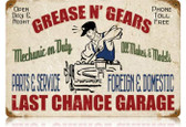 Vintage-Retro Grease Gears Garage Metal-Tin Sign