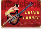Vintage-Retro Guitar Lounge - Pin-Up Girl Metal Sign -