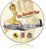 Vintage-Retro Beautiful Doll Round - Pin-Up Girl Metal Sign -