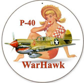 Retro P-40 Warhawk Round - Pin-Up Girl Metal Sign