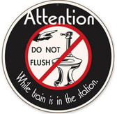 Retro No Flushing Round Metal Sign