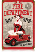 Vintage-Retro Fire Dept. Pin Up Metal-Tin Sign