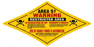 Vintage-Retro Area 51 Diamond Metal-Tin Sign
