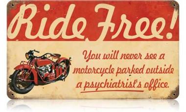 Retro ride free motorcycle tin sign for 14x8 garage door