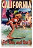 Vintage-Retro California Surfer Metal-Tin Sign