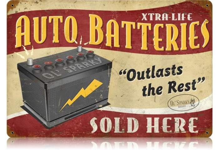 Old Auto Signs : Vintage auto batteries metal sign