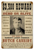 Vintage-Retro Wanted Butch Cassidy Metal-Tin Sign