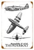 Vintage-Retro P-47 Three View Metal-Tin Sign LARGE