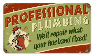 Vintage-Retro Professional Plumbing Metal-Tin Sign