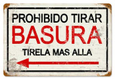 Vintage-Retro Prohibido Basura Metal-Tin Sign