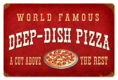Vintage-Retro Deep Dish Pizza Metal-Tin Sign V953