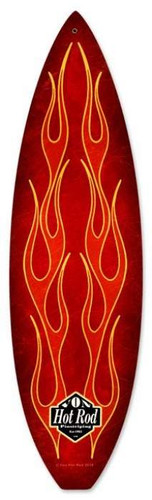 Vintage-Retro Red Flame Surfboard Surfboard Metal-Tin Sign