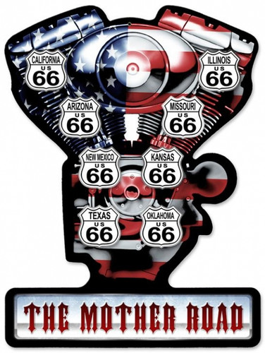 Vintage-Retro Mother Road V-Twin Metal-Tin Sign