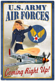 Vintage-Retro Air Force Pinup Metal-Tin Sign