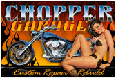 Vintage-Retro Chopper Garage Metal-Tin Sign LARGE