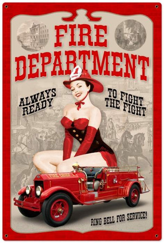 Vintage-Retro Fire Department Pinup - Pin-Up Girl Metal Sign -