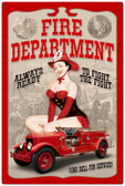 Vintage-Retro Fire Department Pinup Metal-Tin Sign