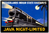 Vintage-Retro Java Night Train Metal-Tin Sign