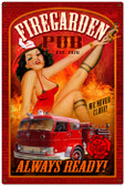 Vintage-Retro Fire Garden - Pin-Up Girl Metal Sign -  LARGE