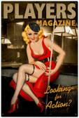 Vintage-Retro Players Pool Girl Metal-Tin Sign
