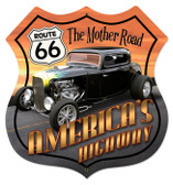 Vintage-Retro Route 66 Hot Rod Shield Metal-Tin Sign