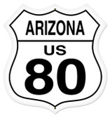 Vintage-Retro Arizona Route 80 Shield Metal-Tin Sign