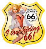 Vintage-Retro Route 66 Pinup Shield Metal-Tin Sign 2