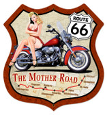 Vintage-Retro Route 66 Pinup Shield Metal-Tin Sign 3