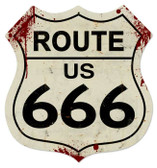 Vintage-Retro Route 666 Shield Metal-Tin Sign LARGE