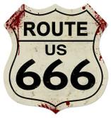 Vintage-Retro Route 666 Shield Metal-Tin Sign LARGE
