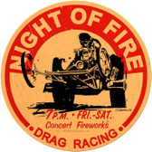 Vintage-Retro Night Of Fire Round Metal-Tin Sign