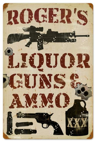 Vintage-Retro Liquor Guns and Ammo Metal-Tin Sign - Personalized