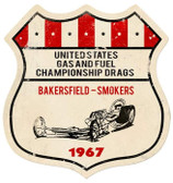 Vintage-Retro US Gas Fuel Shield Metal-Tin Sign