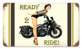 Vintage-Retro Ready 2 Ride Metal-Tin Sign