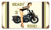 Vintage-Retro Ready 2 Ride Metal-Tin Sign