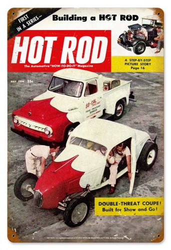 Vintage-Retro Hot Rod MagazineMay 1954 Cover Metal-Tin Sign