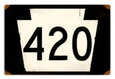Vintage-Retro Route 420 Metal-Tin Sign