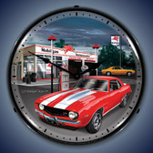 Vintage-Retro  1969 Camaro Mobilgas Lighted Wall Clock