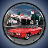 Vintage-Retro  1970 GTO Mobilgas Lighted Wall Clock