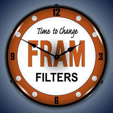 Vintage-Retro  Fram Filters Lighted Wall Clock