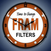 Vintage-Retro  Fram Filters Lighted Wall Clock