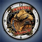 Vintage-Retro  Marine Bulldog Lighted Wall Clock