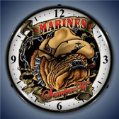 Vintage-Retro  Marine Bulldog Lighted Wall Clock