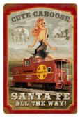 Vintage-Retro Sante Fe Caboose Metal-Tin Sign