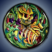 Vintage-Retro  Tattoo Skull Lighted Wall Clock
