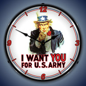 Vintage-Retro  Uncle Sam Lighted Wall Clock