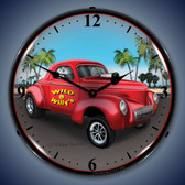 Vintage-Retro  Willys Gasser Lighted Wall Clock