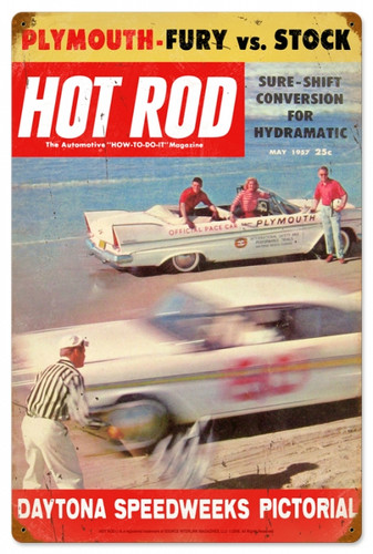 Vintage-Retro Hot Rod Magazine Daytona Metal-Tin Sign