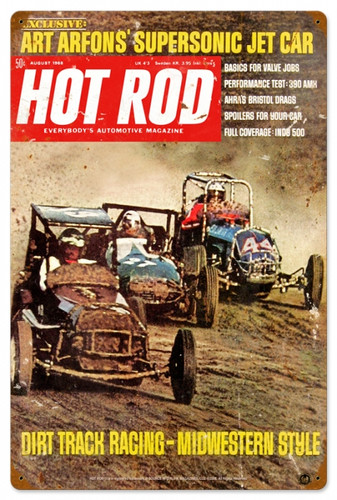Vintage-Retro Hot Rod Magazine Dirt Track Metal-Tin Sign